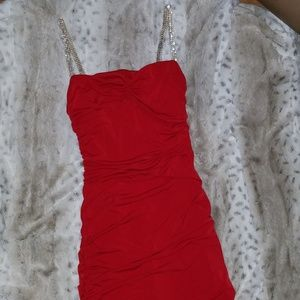 Rouched red dress with rhinestone straps